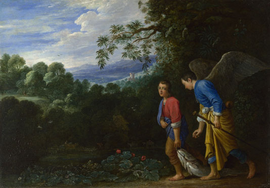Tobias and the Archangel Raphael mid-17th century, After Adam Elsheimer