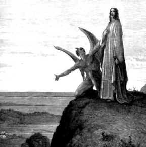 The Devil tempts Jesus.